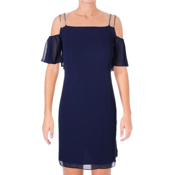 7234fb0f40d NWT Blue Chiffon Rhinestone Cold Shoulder Dress. Boutique. MSK